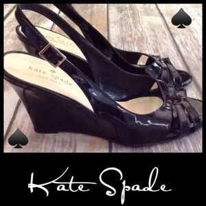 ♠️Kate Spade Blk Patent Slingback Wedge Sandals 8B